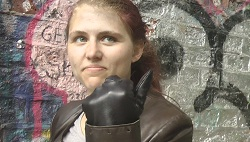 girl wearing leather gloves
